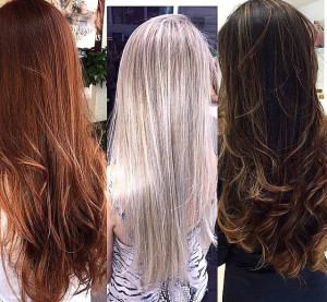 Comparison: Caramel, platinum blonde, brown