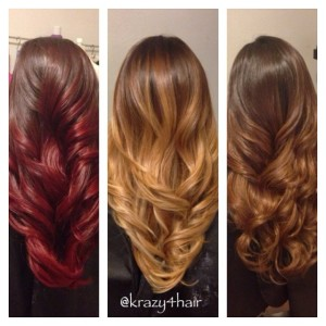 Comparison: Brown hair and Maroon, Gold blonde, Caramel Ombre