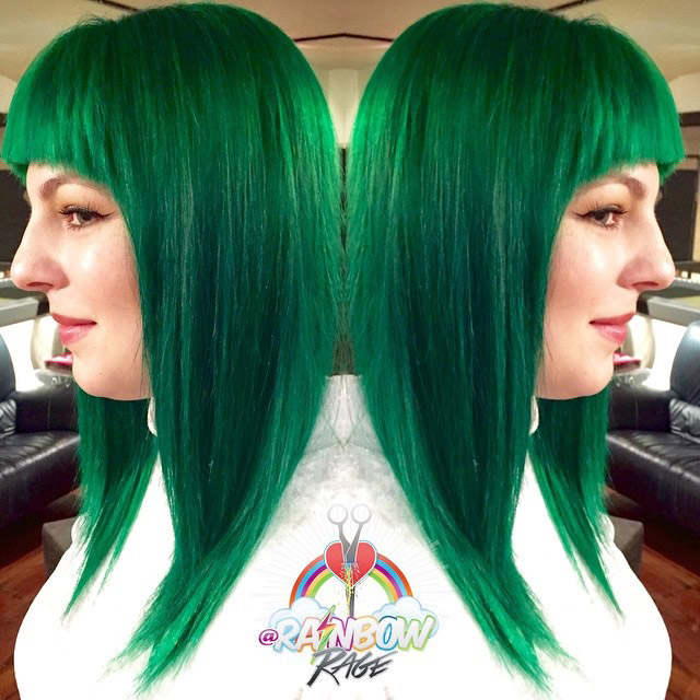 Emerald Green Hair Hair Colar And Cut Style