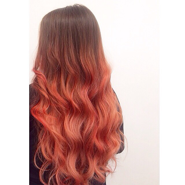 brown and peach ombre hair hair colar and cut style
