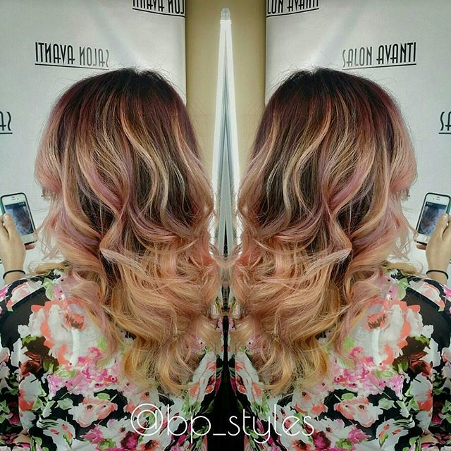 Blonde And Peach Ombre Hair Hair Colar And Cut Style