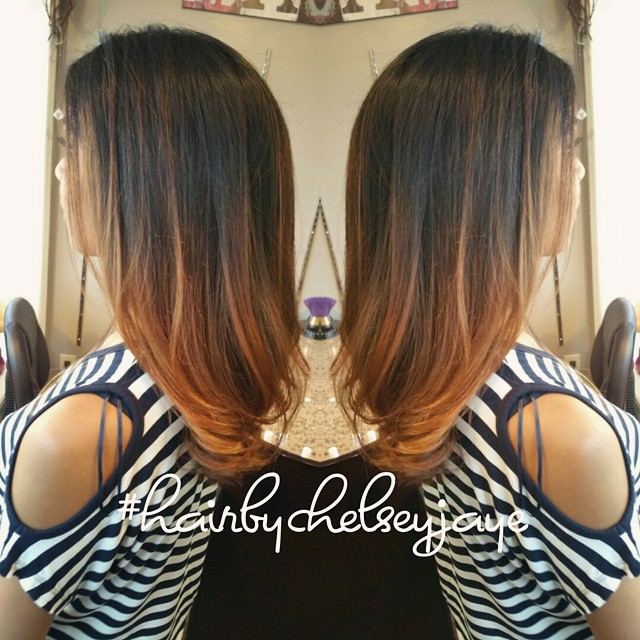 Ombre dark brown to caramel short hair the image kid has it - Ombre hair caramel ...