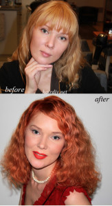 Before: Blonde After: irish-red Color DIY