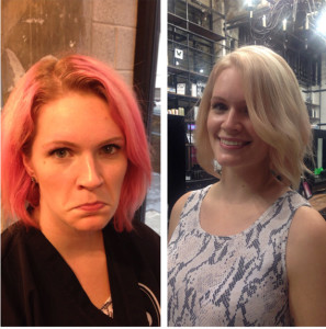 Pink Hair Dyed Blonde Process