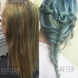 Wella Jaded Mint Hair Dye Before-After